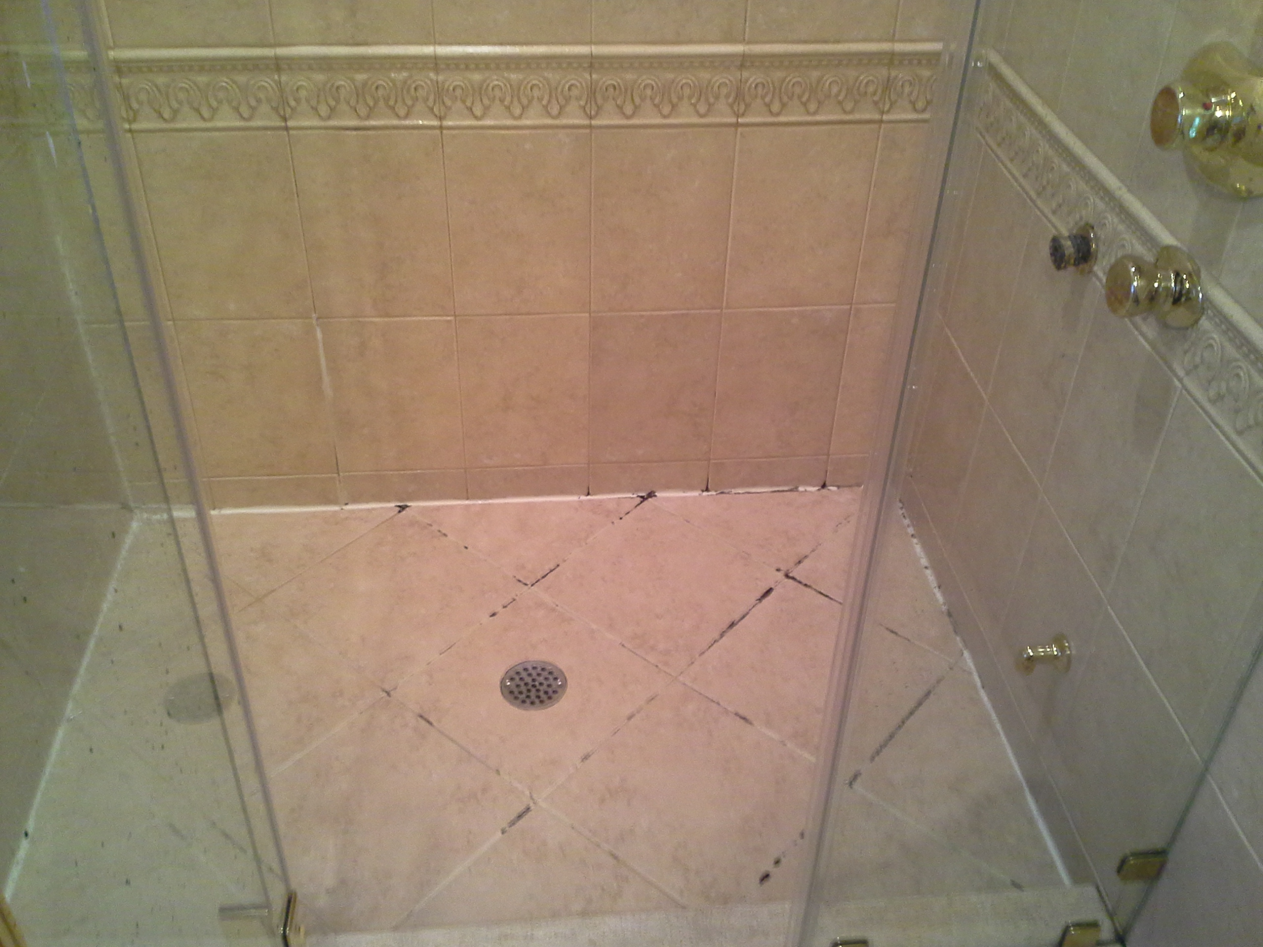 Moldy Shower Grout Caulk Bathroom Grout Repair Vs Dirty Foyer Kitchen Grout By Grout Works