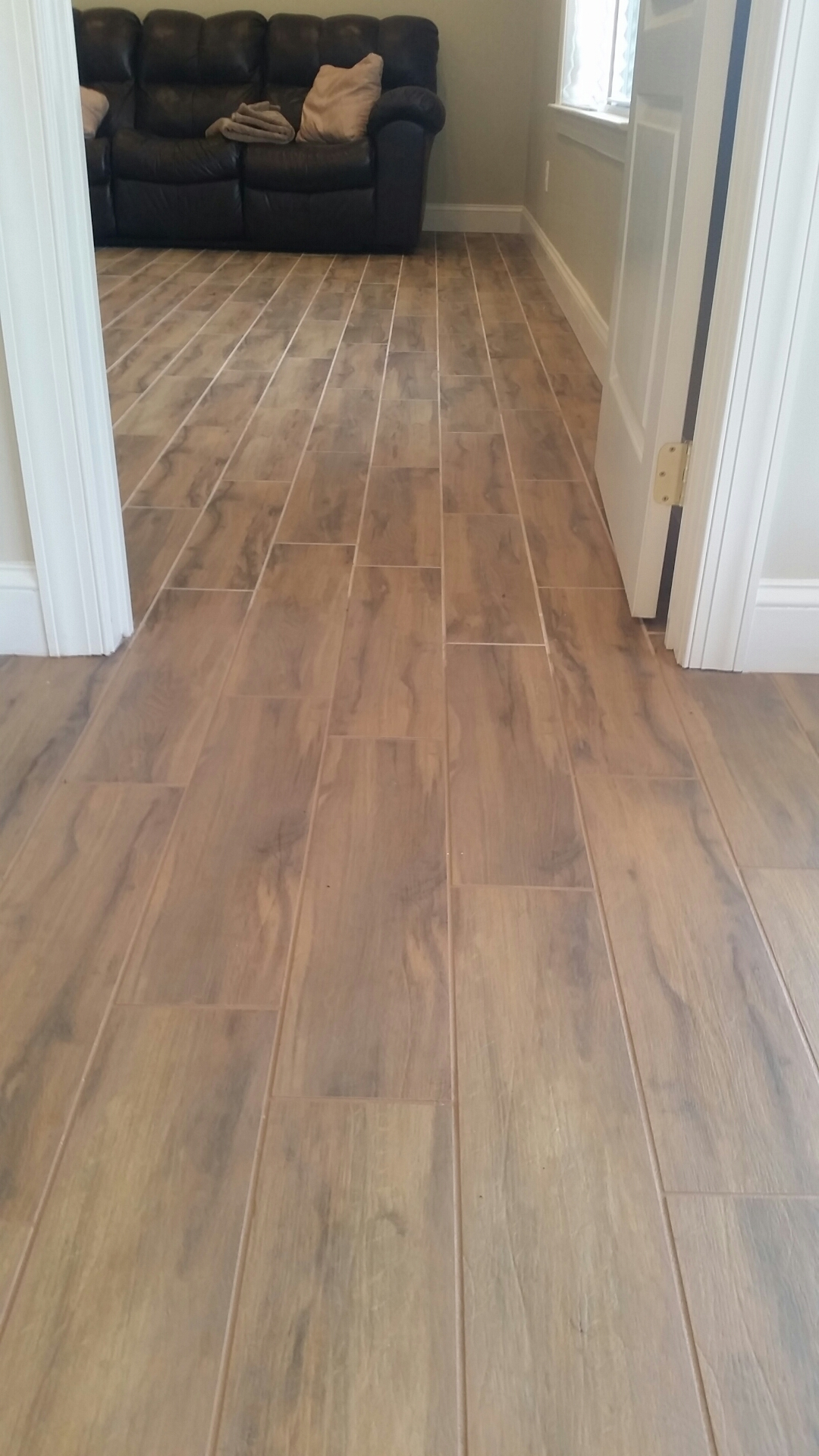 Can wood look tile really look like wood the importance of grout wood look tile half and half dailygadgetfo Gallery